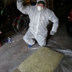 Working with Rockwool requires some protection (the Breaking Bad look)